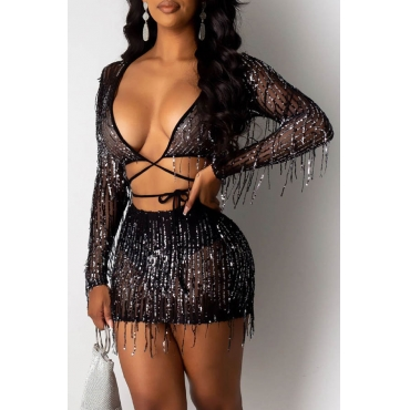 Lovely Sexy Tassel Design Black Two-piece Skirt Set