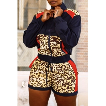 Lovely Casual Turndown Collar Patchwork Deep Blue Two-piece Shorts Set