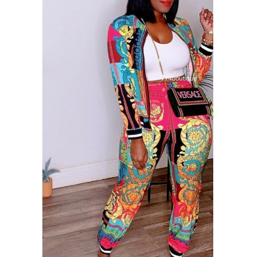 Lovely Leisure Printed Green Two-piece Pants Set