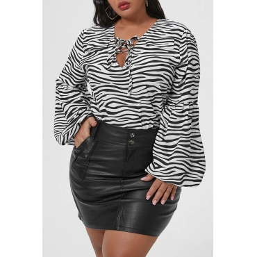 Lovely Casual Zebra Stripe Plus Size Blouse