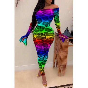 Lovely Sexy Leopard Printed Multicolor One-piece Jumpsuit