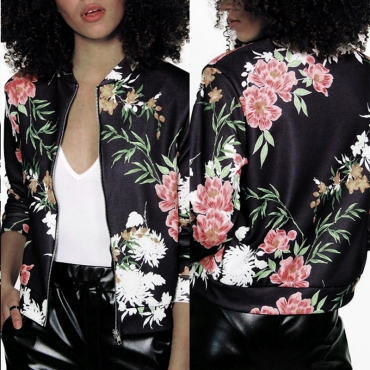 Lovely Casual Floral Printed Black Jacket