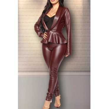 Lovely Street Turn-back Collar Flounce Wine Red Two-piece Pants Set