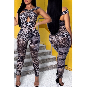 Lovely Sexy Leopard Printed Black One-piece Jumpsuit