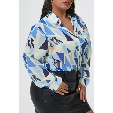 Lovely Casual Geometric Printed Blue Plus Size Shirt