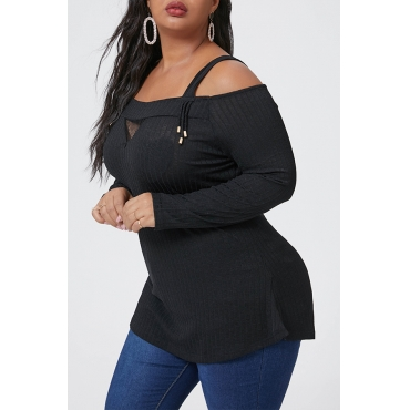 Lovely Casual Cold Shoulder Black Plus Size Blouse