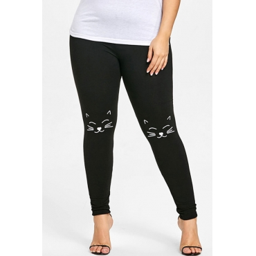 Lovely Casual Printed Black Plus Size Pants