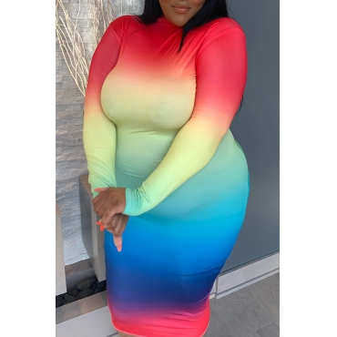 Lovely Casual Gradual Change Printed Multicolor Mid Calf Plus Size Dress
