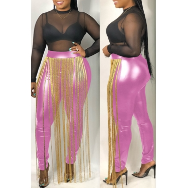 Lovely Casual Tassel Design Pink Pants