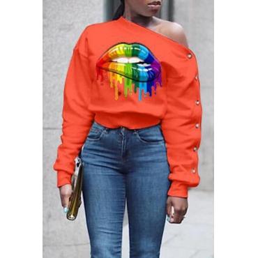 Lovely Casual Lip Printed Orange Sweatshirt Hoodie
