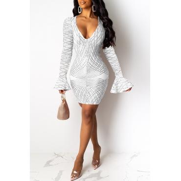 Lovely Casual Flounce Design White Mini Dress