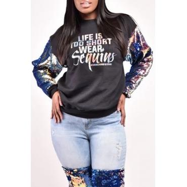 Lovely Casual Patchwork Black Sweatshirt Hoodie