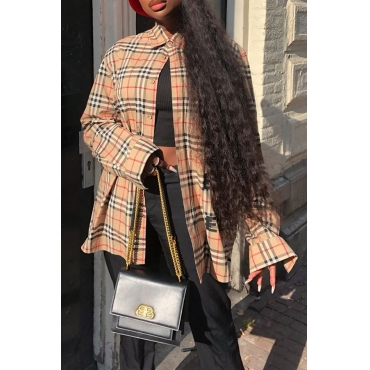 Lovely Casual Plaid Printed Yellow Shirt