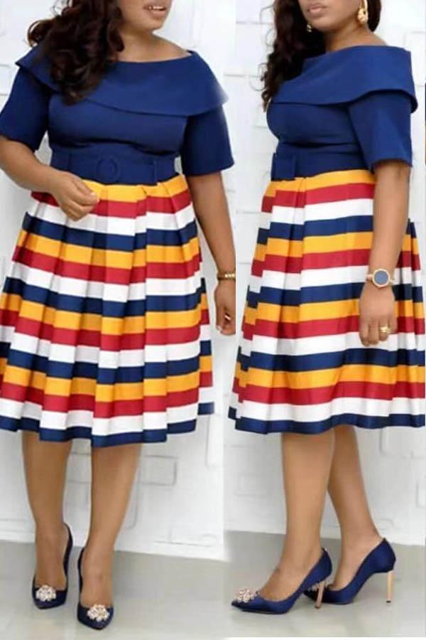 Lovely Casual Striped Dark Blue Knee Length Plus Size Dress