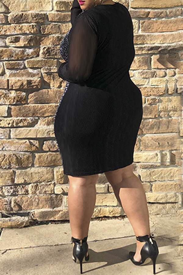 Lovely Party Patchwork Black Mini Plus Size Dress