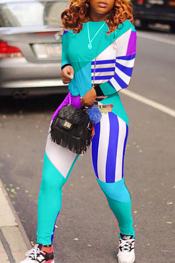 Lovely Casual O Neck Printed Cyan Two-piece Pants Set