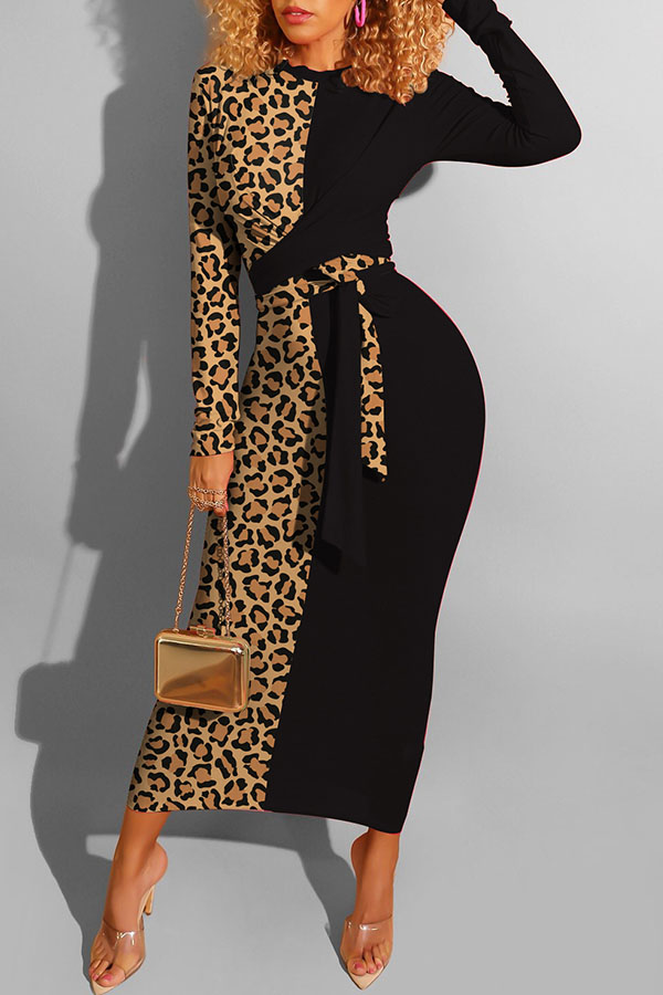 Lovely Casual Leopard Patchwork Black Ankle Length Dress