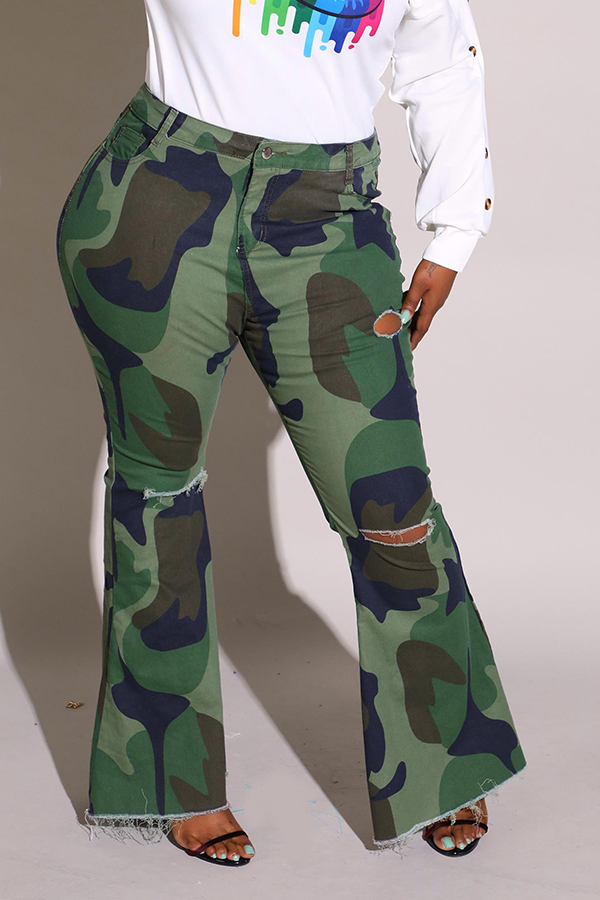 Lovely Trendy Camouflage Printed Army Green Plus Size Pants