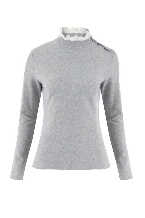 Lovely Trendy Patchwork Grey Sweater