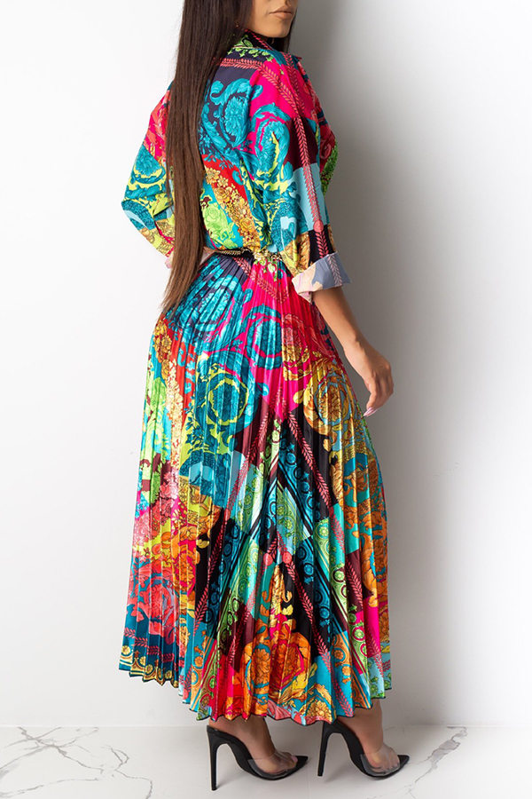 Lovely Casual Turndown Collar Printed Multicolor Two-piece Skirt Set