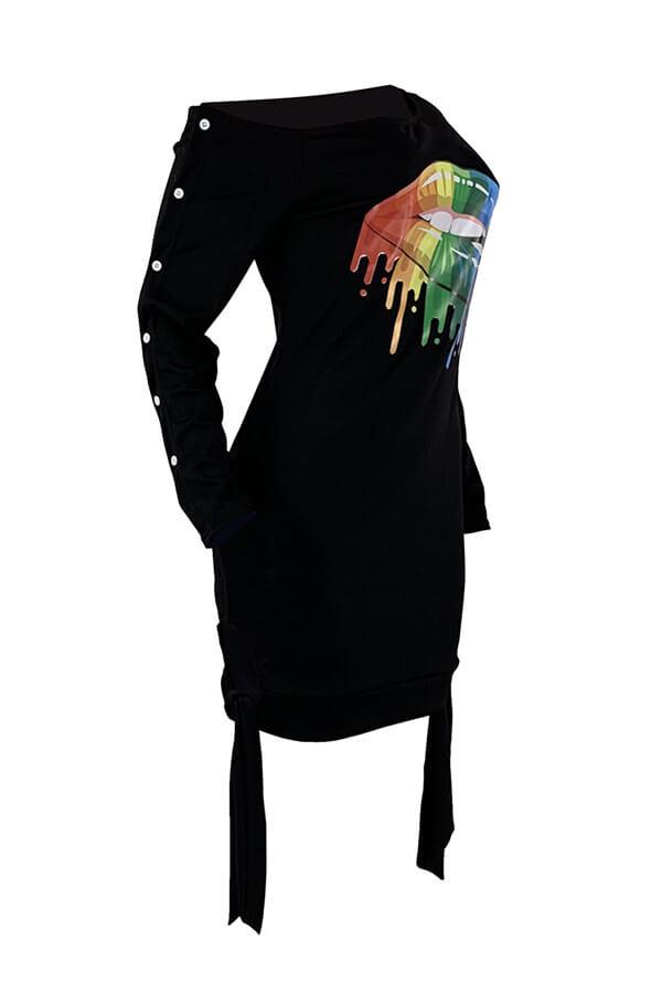 Lovely Casual Lip Printed Black Mini T-shirt Dress