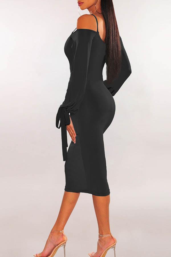 Lovely Casual Dew Shoulder Skinny Black Knee Length Dress