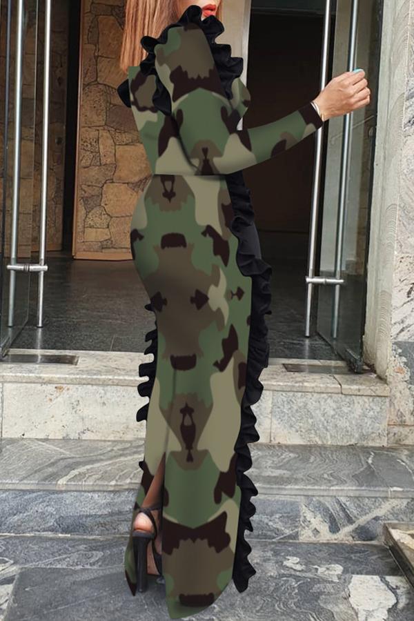 Lovely Trendy Skinny Camouflage Printed Army Green Floor Length Sheath Dress