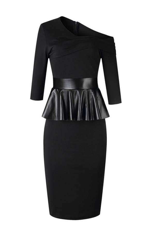 Lovely Casual Flounce Design Black Knee Length Dress