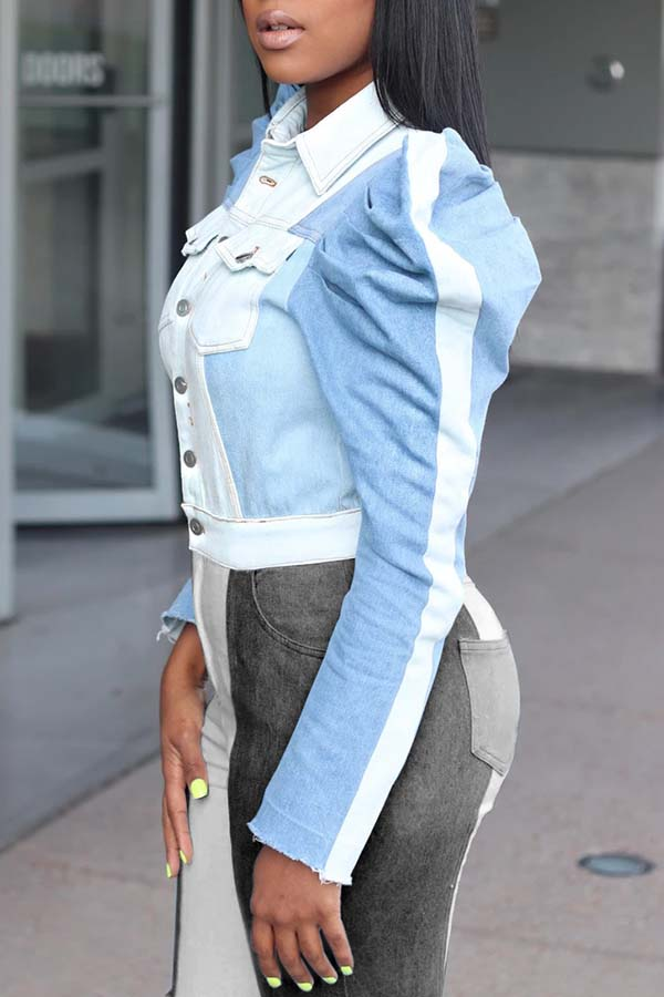 Lovely Casual Patchwork Baby Blue Denim Coat
