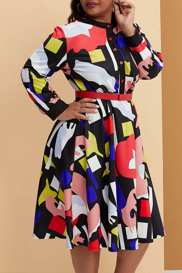 Lovely Casual O Neck Printed Multicolor Mid Calf Plus Size Dress