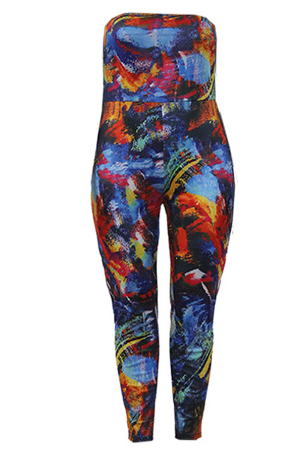 Lovely Casual Printed Multicolor Plus Size Two-piece Pants Set