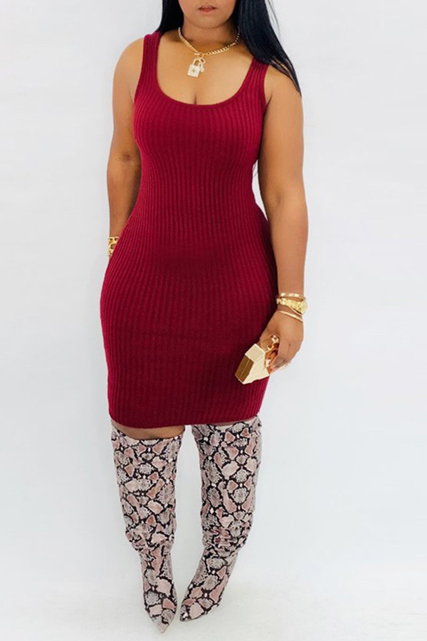 Lovely Casual Turtleneck Red Two-piece Skirt Set