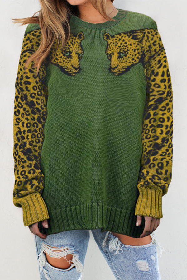 Lovely Casual Leopard Printed Green Sweater