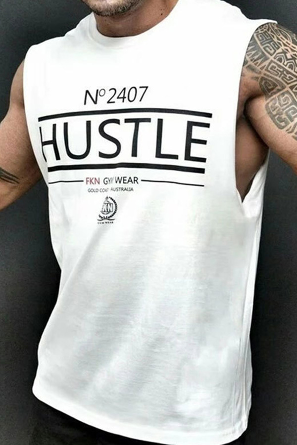 Lovely Sportswear Printed White Vest