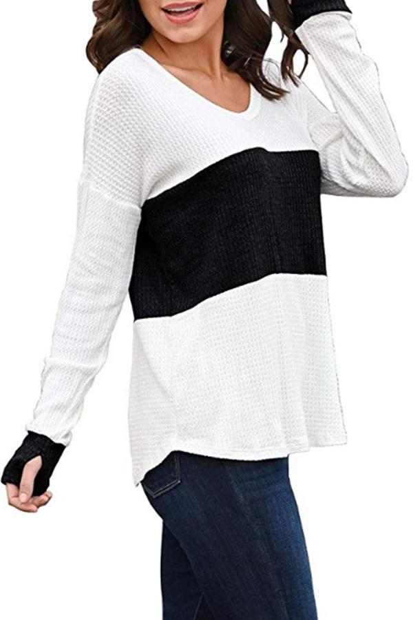 Lovely Casual V Neck Patchwork Black T-shirt