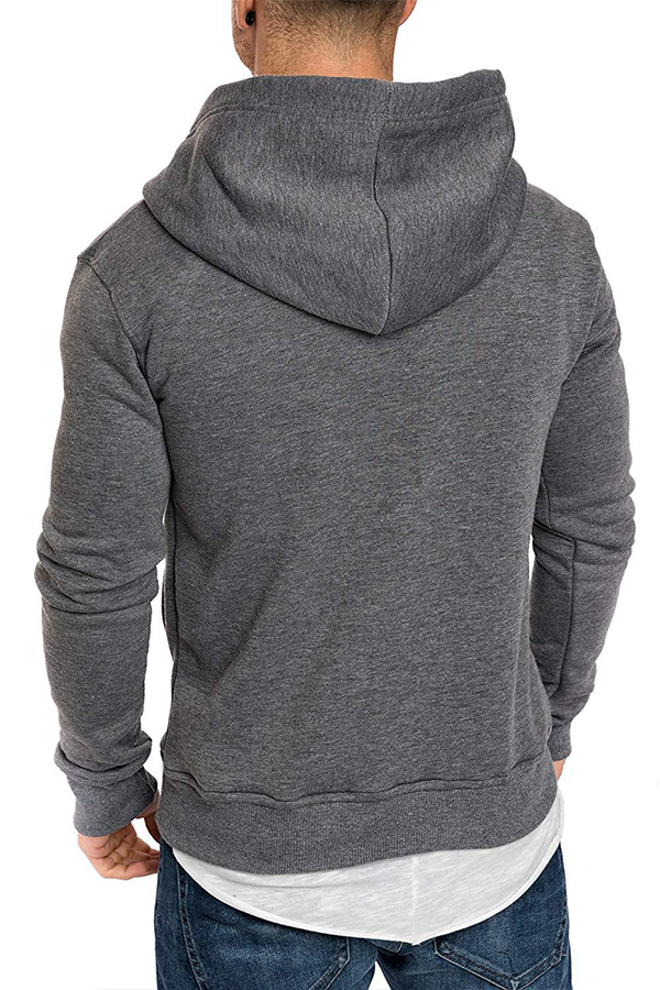 Lovely Casual Hooded Collar Buttons Design Dark Grey Hoodie