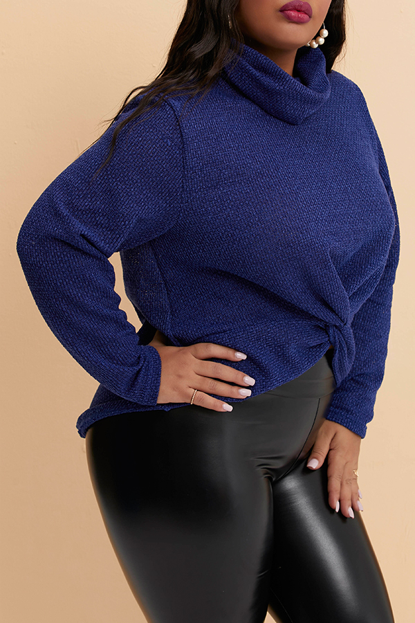 Lovely Casual Turtleneck Navy Blue Plus Size Sweater