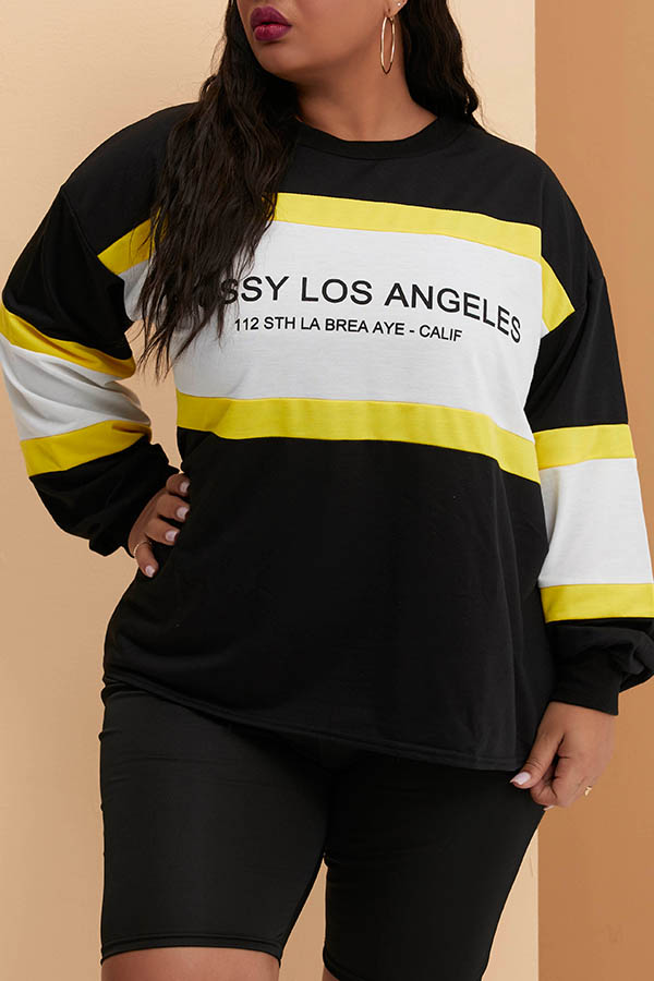 Lovely Leisure Patchwork Black Plus Size Hoodie