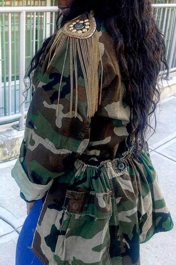 Lovely Leisure Camouflage Printed Plus Size Coat