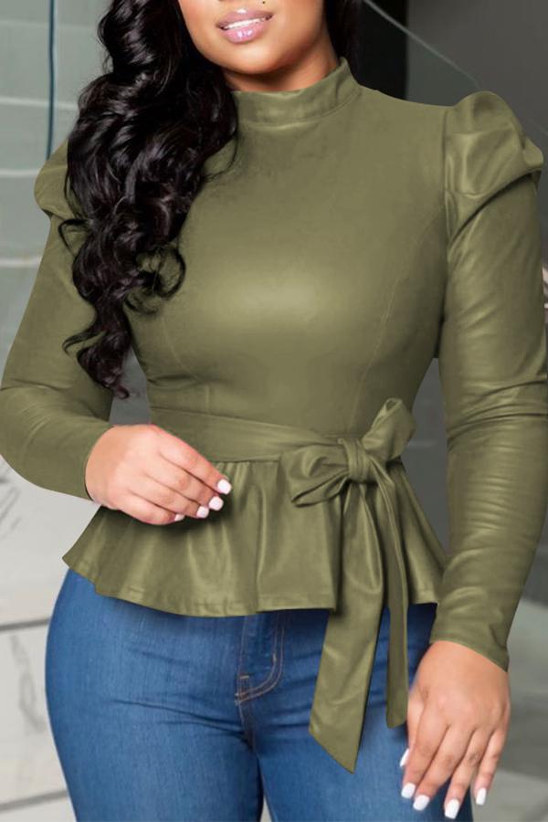 Lovely Trendy Mandarin Collar Lace-up Blackish Green Blouse