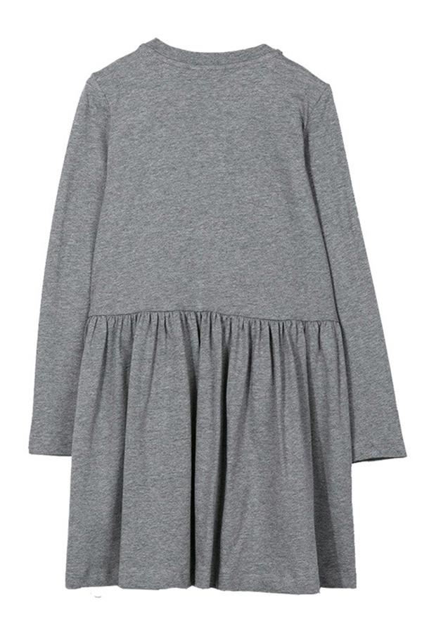 Lovely Sweet Printed Grey Knee Length Girls Dress