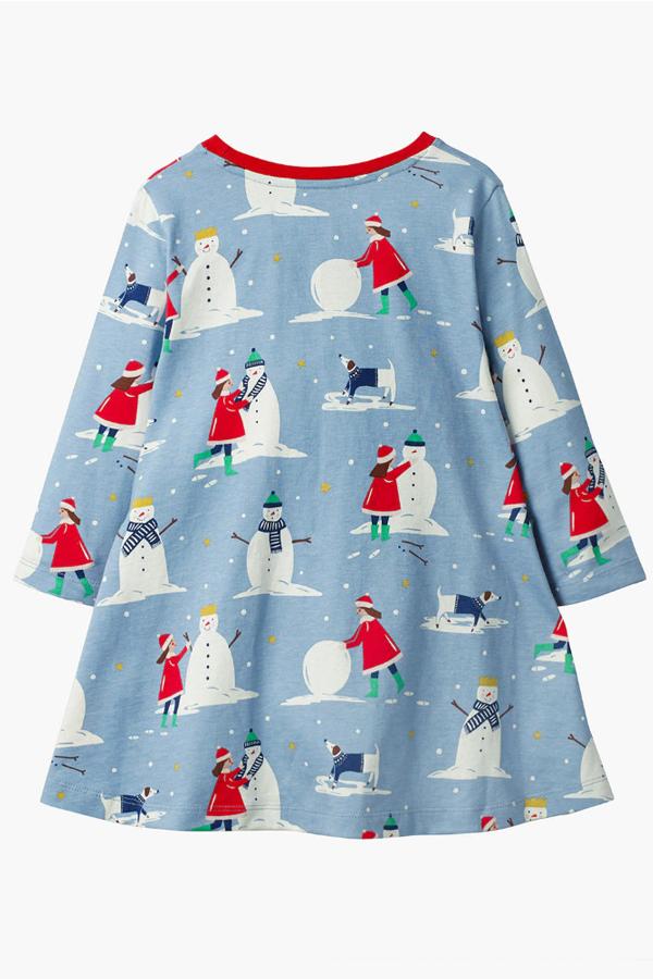 Lovely Sweet Loose Baby Blue Knee Length Girls Dress