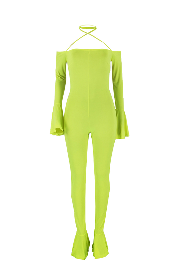 Lovely Sexy Backless Yellow One-piece Jumpsuit(Without Accessory)
