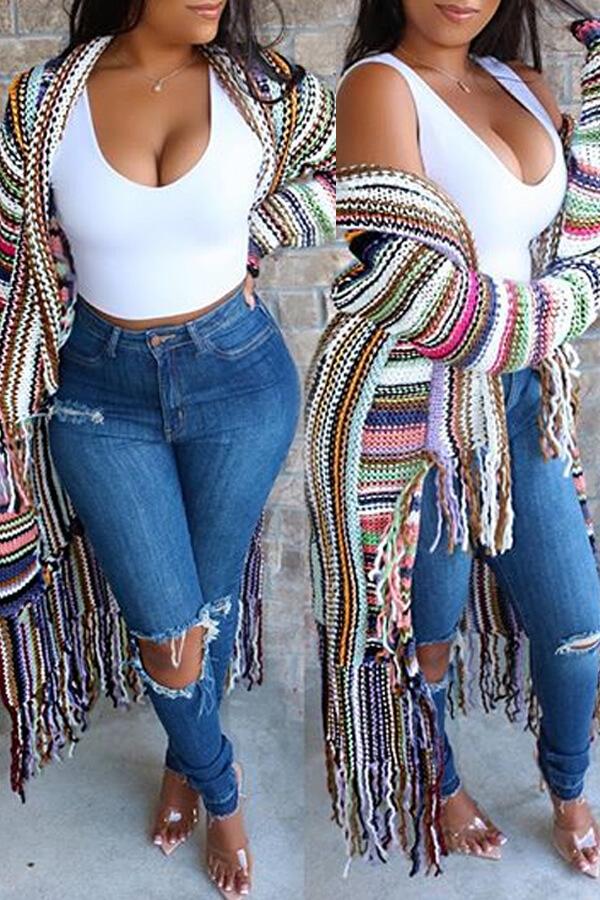 Lovely Casual Tassel Design Multicolor Cardigan