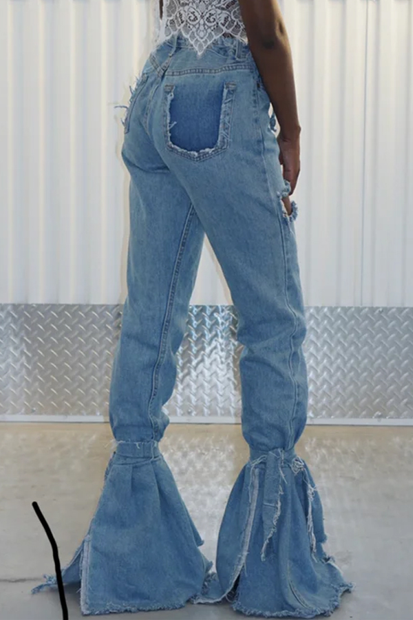 Lovely Casual Flared Broken Holes Blue Jeans