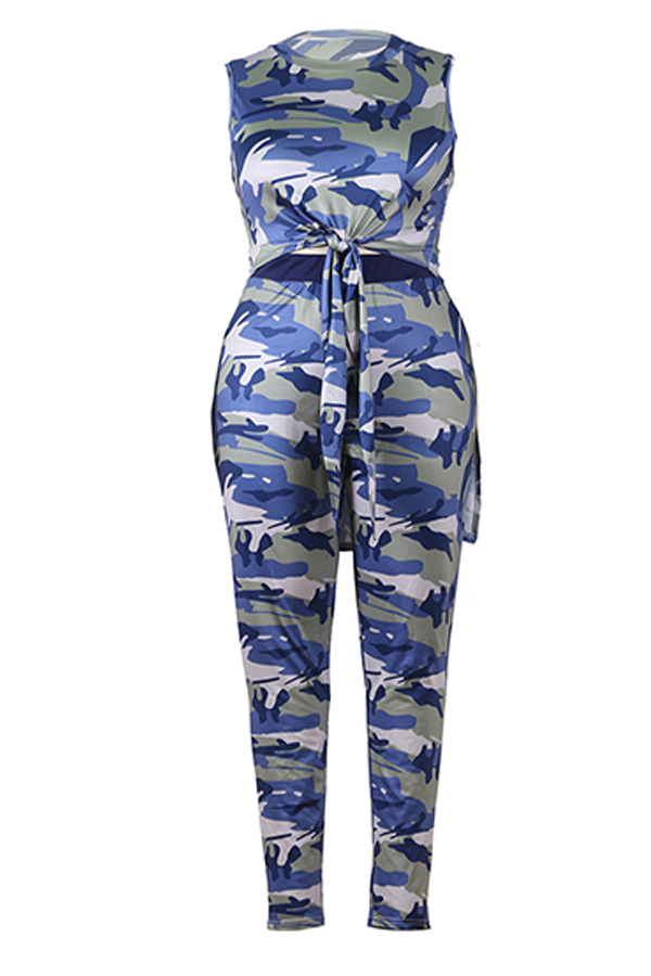 Lovely Casual Camouflage Printed Plus Two-piece Pants Set