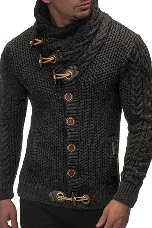 Lovely Casual Buttons Dark Blue Sweater