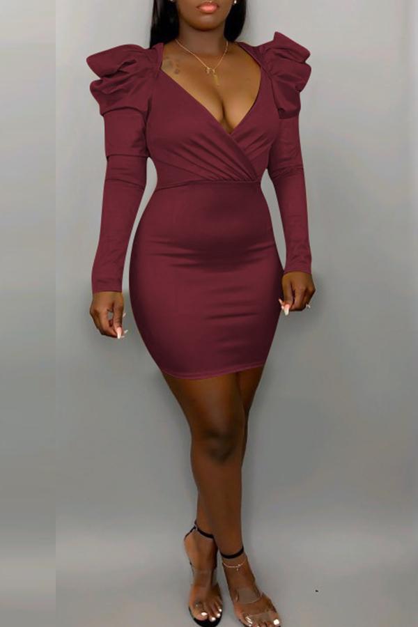 Lovely Sweet V Neck Flounce Wine Red Mini Dress