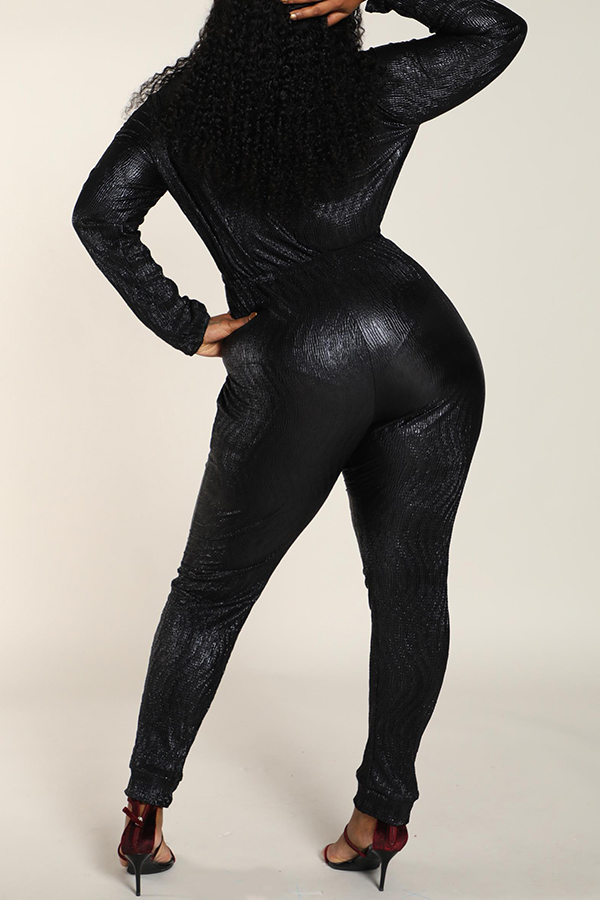 Lovely Work Zipper Design Black Plus Size One-piece Jumpsuit