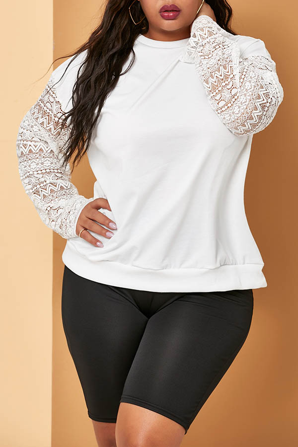 Lovely Casual Patchwork White Plus Size Hoodie